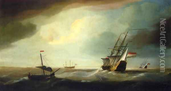 English and Dutch Men of War in a Swell Oil Painting - Thomas Allen