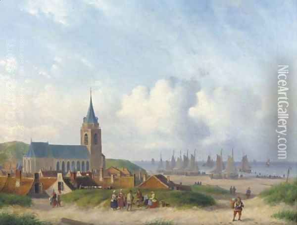 A view of Scheveningen with the beach Oil Painting - Carl Eduard Ahrendts