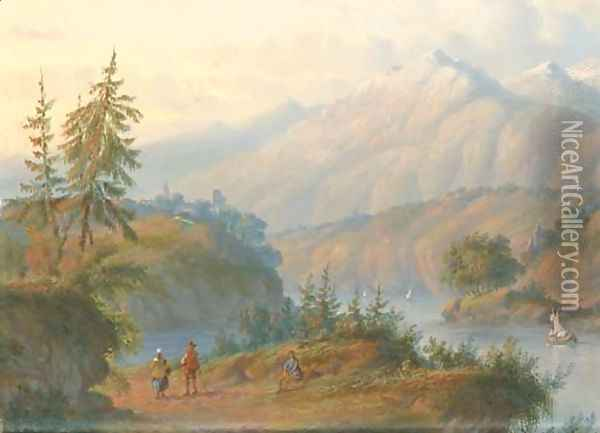 Figures in an Alpine landscape Oil Painting - Carl Eduard Ahrendts