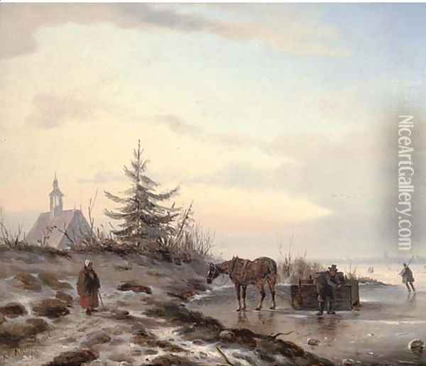 Securing a barrel on the ice Oil Painting - Carl Eduard Ahrendts
