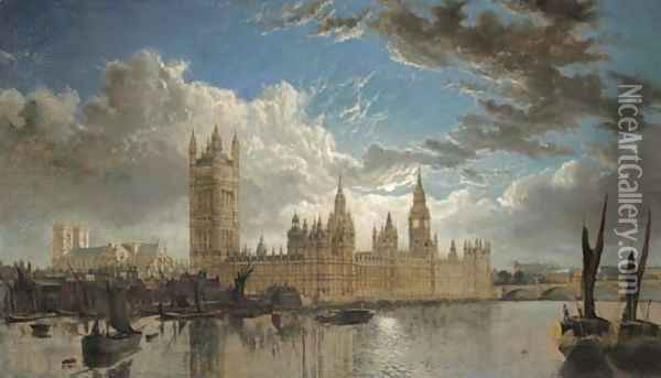 View of Westminster from the River Thames Oil Painting - John Macvicar Anderson