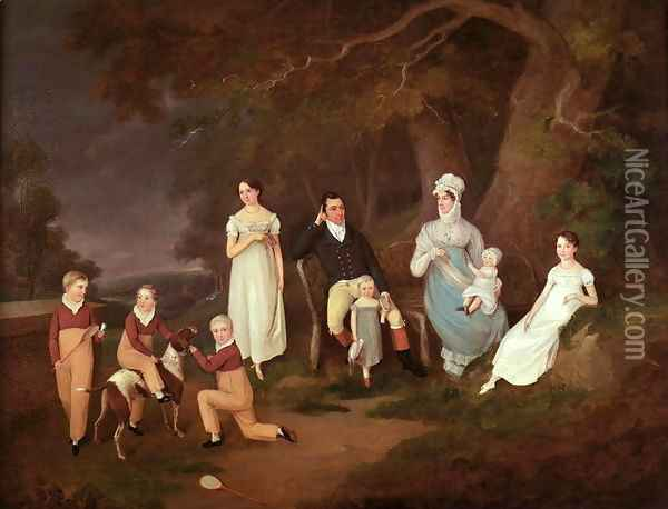 Group portrait of a Squire, his Wife and Children on the Edge of the New Forest, 1817 Oil Painting - W. Allison