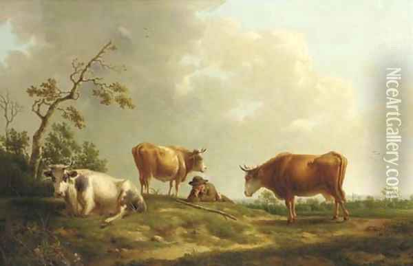 A pastoral landscape with cattle and a herdsman Oil Painting - Hendrik van Anthonissen