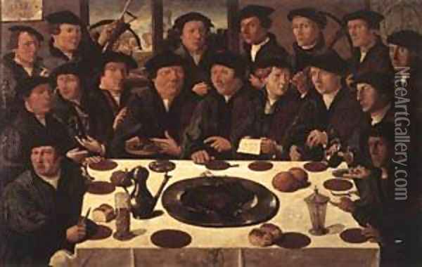 Banquet Of Members Of Amsterdams Crossbow Civic Guard 1533 Oil Painting - Cornelis Anthonisz.