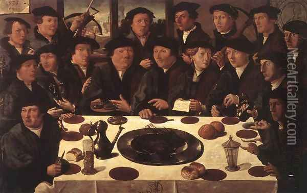 Banquet of Members of Amsterdam's Crossbow Civic Guard Oil Painting - Cornelis Anthonisz.