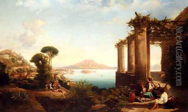 The Castle Of Ischia, In The Bay Of Naples, Mount Vesuvius Beyond Oil Painting - Thomas Brabazon Aylmer