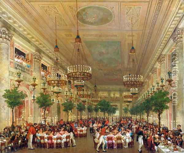 Feast at the Tuileries to Celebrate the Marriage of Leopold I, 1832 Oil Painting - Le Baron Attalin