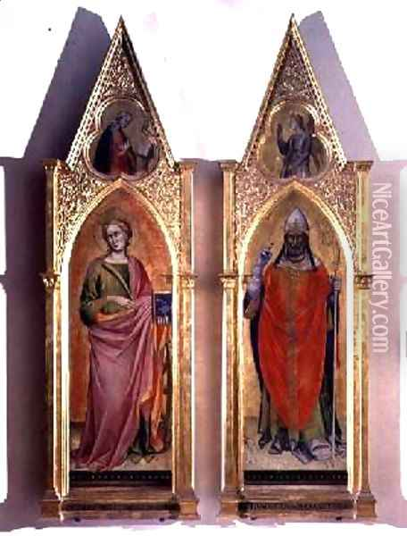 St Catherine and St Callixtus Oil Painting - Fra Angelico (Guido di Pietro)