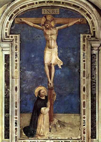 Saint Dominic Adoring the Crucifixion Oil Painting - Fra Angelico (Guido di Pietro)
