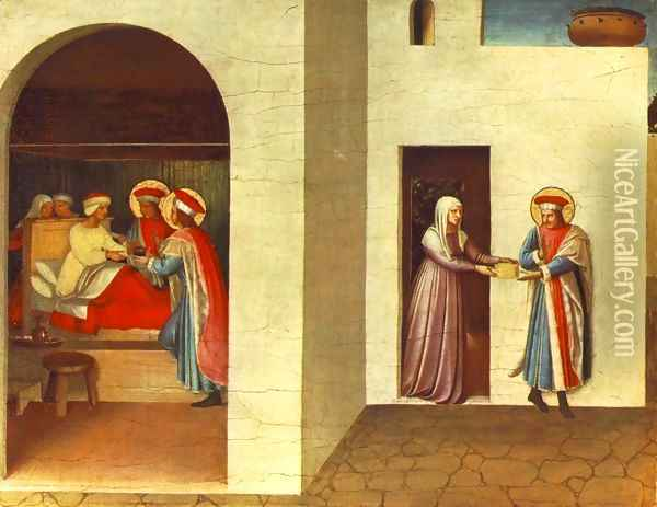 The Healing of Palladia by Saint Cosmas and Saint Damian Oil Painting - Fra Angelico (Guido di Pietro)
