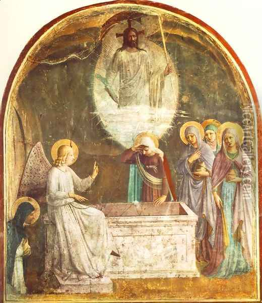 Resurrection of Christ and Women at the Tomb Oil Painting - Fra Angelico (Guido di Pietro)