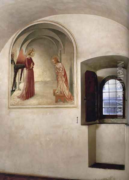 View of a cell Oil Painting - Fra Angelico (Guido di Pietro)