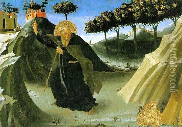 Saint Anthony the Abbot Tempted by a Lump of Gold Oil Painting - Fra Angelico (Guido di Pietro)
