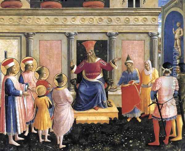 Saint Cosmas and Saint Damian before Lisius Oil Painting - Fra Angelico (Guido di Pietro)