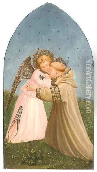 A Franciscan monk embracing an angel Oil Painting - Fra Angelico (Guido di Pietro)
