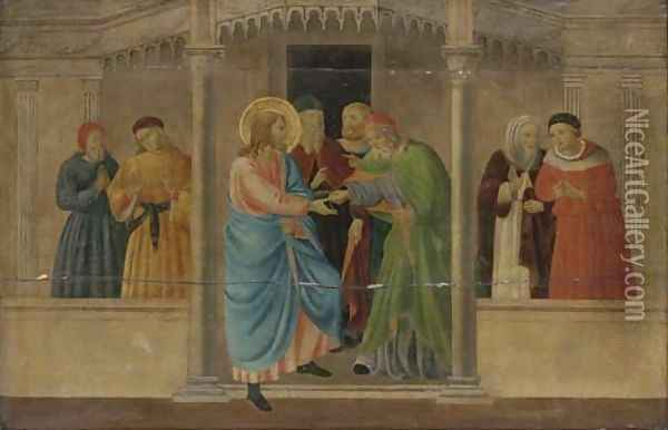 Christ driving the Money-changers from the Temple Oil Painting - Fra Angelico (Guido di Pietro)