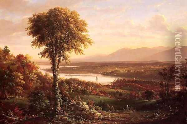 View of the Catskills from the South side of Mount Merino Oil Painting - Henry Ary