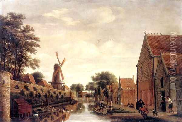 The Delft City Wall with the Houttuinen c. 1650 Oil Painting - Pieter Jansz. van Asch