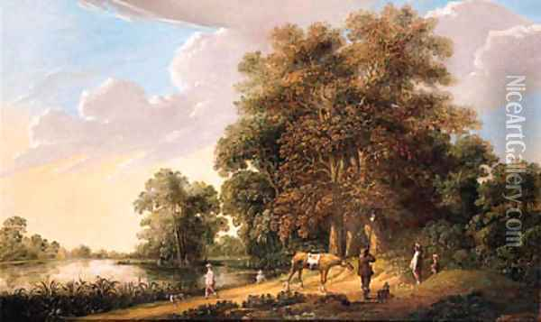A falconry at the edge of a wood by a lake Oil Painting - Pieter Jansz. van Asch