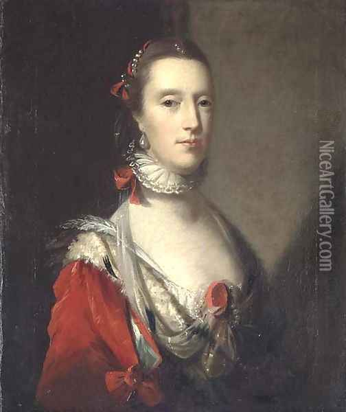 Portrait of a lady, bust-length, in an elaborate red dress with ermine trim, with a white lace ruff, and pearls in her hair Oil Painting - John Astley