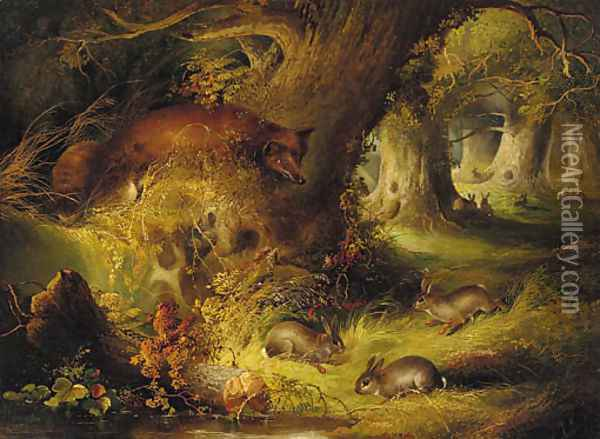 A fox with rabbits in a wood Oil Painting - George Armfield