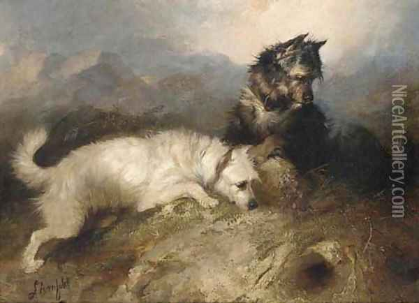 Terriers ratting in a barn; and Terriers at a rabbit hole Oil Painting - George Armfield