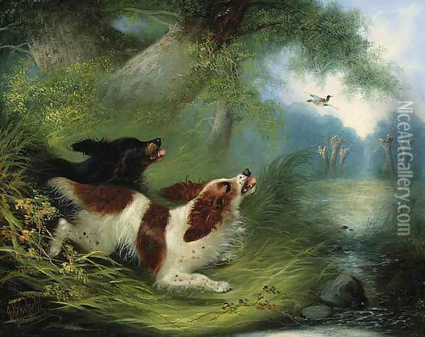 Spaniels putting up a Duck Oil Painting - George Armfield