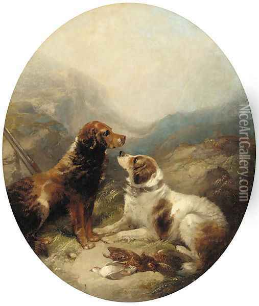 Two setters with the day's bag Oil Painting - George Armfield