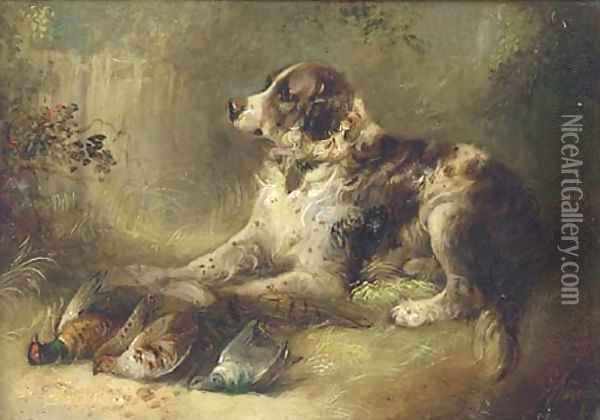 A spaniel with dead game Oil Painting - George Armfield