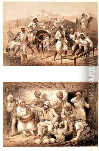 Two scenes of the Indian Mutiny in 1857 depicting mutinous sepoys and an English agent extracting treasure after the occupation of Delhi Oil Painting - George Franklin Atkinson