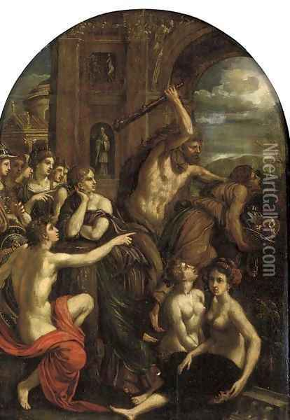 The Madness of Hercules Oil Painting - Hans Von Aachen
