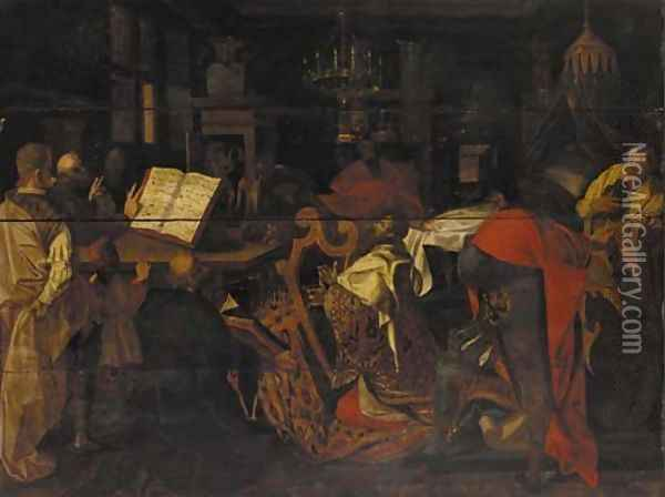David playing the harp before Saul Oil Painting - Hans Von Aachen