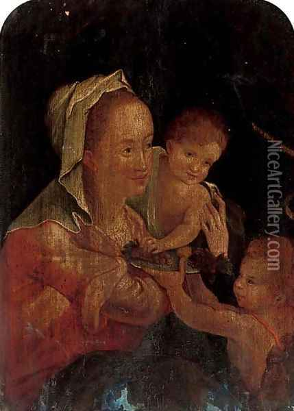 The Virgin and Child with the Infant Saint John the Baptist Oil Painting - Hans Von Aachen