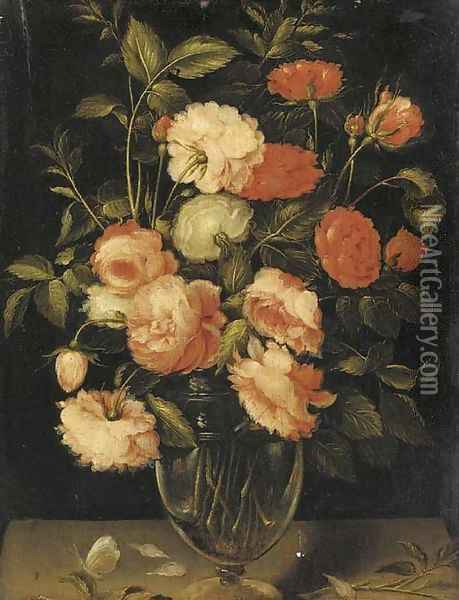 Red, pink and white roses in a glass vase with a butterfly on a ledge Oil Painting - Alexander Adriaenssen