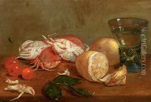 A 'roemer' of white wine, crabs, cherries and lemons on a wooden ledge Oil Painting - Alexander Adriaenssen