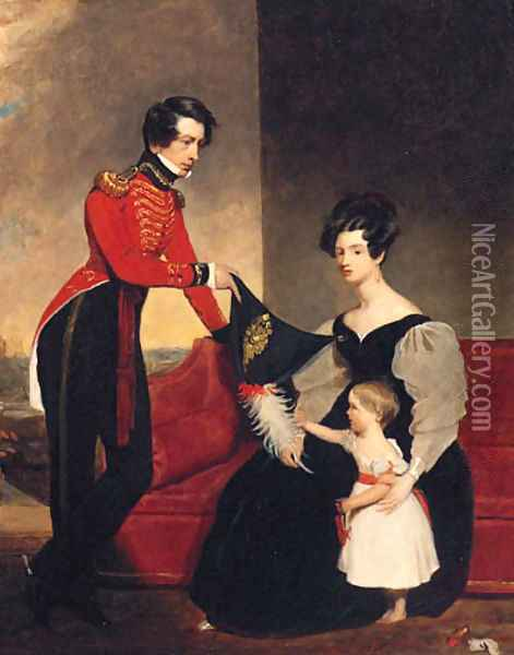 Group Portrait Of An Officer With His Wife And Daughte Oil Painting - Charles E. Ambrose