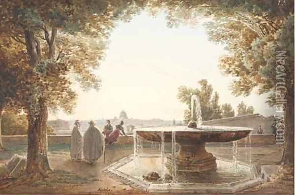 A view of Rome from the terrace of the Villa Medici, a fountain in the foreground Oil Painting - Jodocus Josse Sebastiaen Van Den Abeele