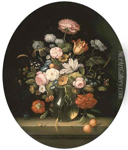 Roses, tulips, morning glory, berries and fruit in a glass jug with a butterfly, a dragonfly and a snail on a ledge Oil Painting - Balthasar Van Der Ast