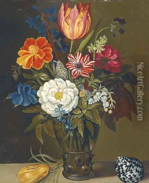 Mixed flowers in a glass vase, with a parrot tulip and a shell on a ledge Oil Painting - Balthasar Van Der Ast
