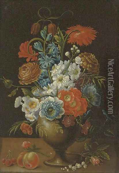 Roses, carnations, daffodils and other flowers in a vase on a ledge Oil Painting - Balthasar Van Der Ast