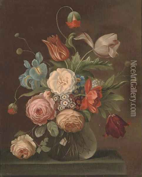 Roses, tulips, and other flowers in a glass vase with a snail and a fly on a ledge Oil Painting - Balthasar Van Der Ast