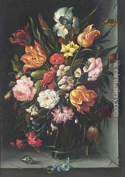 Roses, tulips, carnations, morning glory and other flowers in a glass vase with a butterfly, a snail and a shell on a ledge Oil Painting - Balthasar Van Der Ast