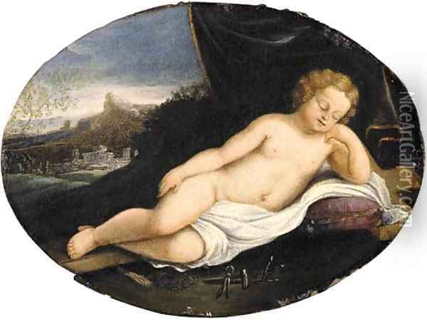 The sleeping Christ Child with the instruments of the Passion Oil Painting - Francesco Albani