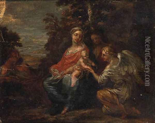 The Rest on the Flight into Egypt 2 Oil Painting - Francesco Albani