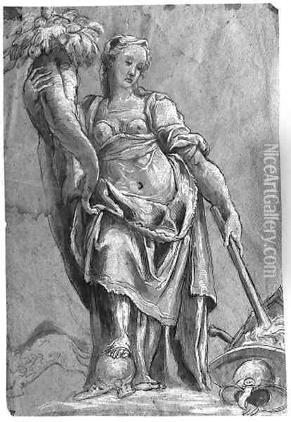 An allegorical figure of Peace Oil Painting - Niccolo dell' Abbate