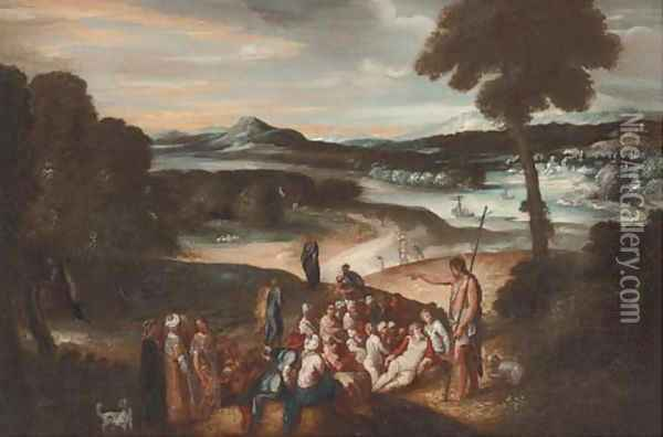 Saint John the Baptist preaching in the wilderness Oil Painting - Niccolo dell' Abbate