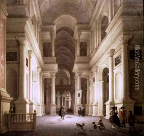 Interior of a Church at Night Oil Painting - De Lorme and Ludolf De Jongh Anthonie