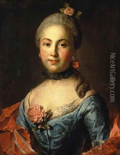 Portrait of a Woman in a Blue Dress Oil Painting - Ivan Petrovich Argunov