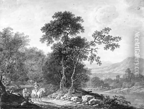 An extensive mountainous landscape with a traveller asking his way to a family of beggars, a river in the background Oil Painting - Christoph Ludwig Agricola