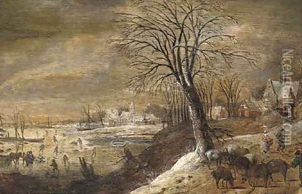A winter landscape with herders and other figures, skaters on a frozen river beyond Oil Painting - Denys Van Alsloot